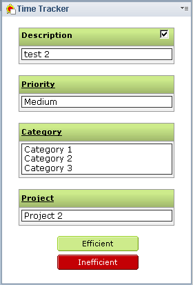 The idea is simple. At the start of your  day - upon completion of your first task - create an entry highlighting what  you did and whether you feel it was anefficientorinefficientuse of your  time. Based on several requests, you can also select the priority, apply  categories, or even align your time against a project. For Lotus Notes Client v8.0 and above, you can use the Time Tracker Widget to  make this processeven easier!